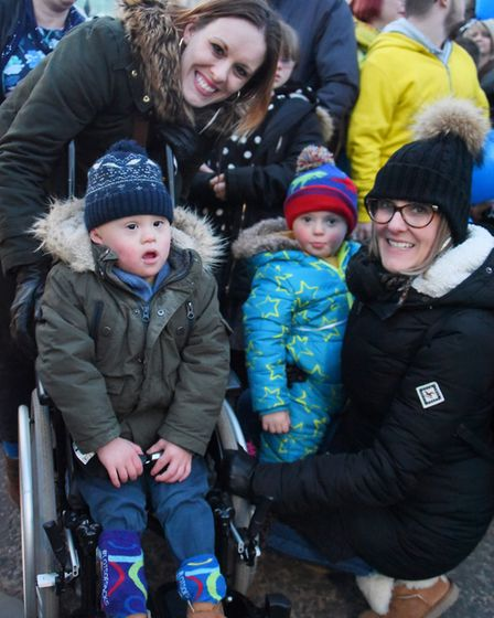 Co-organisers Zoe Lee, left with her son Mason, three, and Emma Taylor, with her son Eli, three, rea