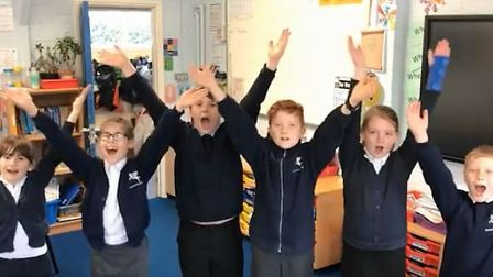Staff and students at Buxton Primary School waved farewell to headteacher Deborah Leahy with a music