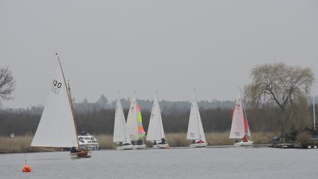 Action from Horning Sailing Club's start of season, which took place on Sunday. Picture: Holly Hanco