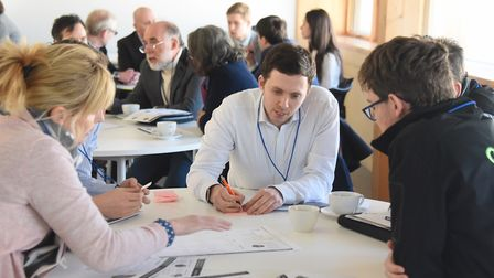 Delegates take part in the Innovation Workshop at the Futuristic Transport conference. Picture: DENI