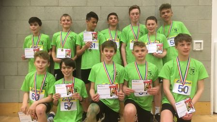 The under 13 boys team at the regional Sportshall athletics championships. Picture: Graham Ringer
