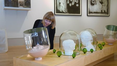 Harriet Loffler, curator of modern and contemporary art at Norwich Castle, with the sculpture Air He