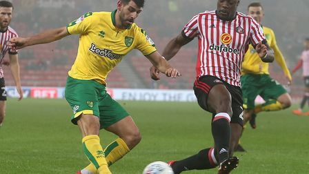 Norwich City striker Nelson Oliveira hit the woodwork at Sunderland. Picture: Paul Chesterton/Focus