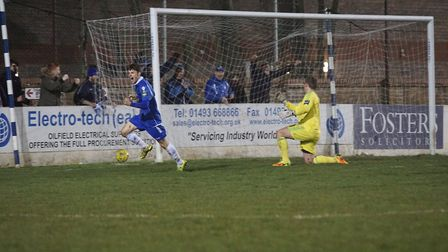 Lowestoft's Harvey Hodd celebrates after scoring the first goal against Hendon in midweek. Picture: