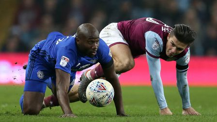 Cardiff City's Sol Bamba and Aston Villa's Jack Grealish during the midweek clash. Picture: PA