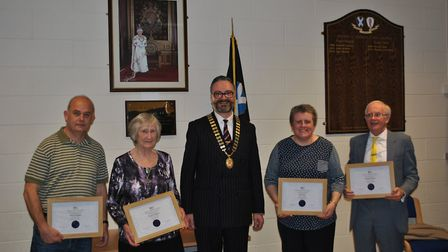 From left to right, Michael Seaman, Margaret Doggett, Ian Mackie (town mayor), Janet Fancy, Malcolm