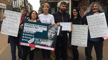An anti-war demonstration was held in King's Lynn in reponse to the British air strikes in Syria. Pi