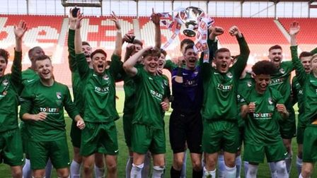 Norfolkcelebrate after beating Staffordshire 2-0 to lift the FA County Youth Cup. Picture: Norfolk F