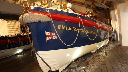 The Forrester's Centenary, one of the eight historic lifeboats on display at Sheringham Museum. Phot