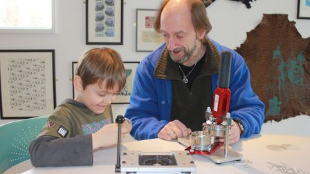 A badge-making workshop run at the museum during Sheringham Viking Festival in February. Photo: KARE