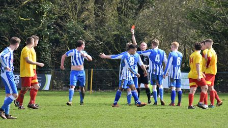 Action from Mattishall's home game against Mulbarton Wanderers. Picture: Jack Owen