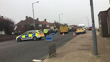 Emergency services at the scene of the crash at North Drive, Great Yarmouth. Photo: Sam Docwra