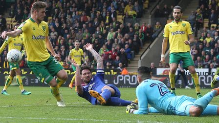 Dennis Srbeny was denied by Sean Morrison's goal-saving block. Picture: Paul Chesterton/Focus Images