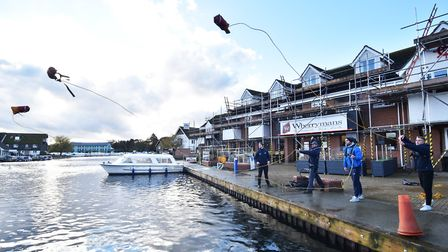 RNLI training staff at Broads Tours, in Wroxham, how to use throw bags. Picture: ANTONY KELLY