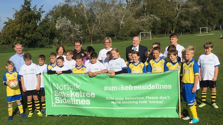 Nearly 30 football clubs in Norfolk have signed up to a campaign to ban smoking from the sidelines.