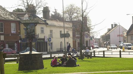 Queen's Square in Attleborough's town centre. PICTURE: Denise Bradley