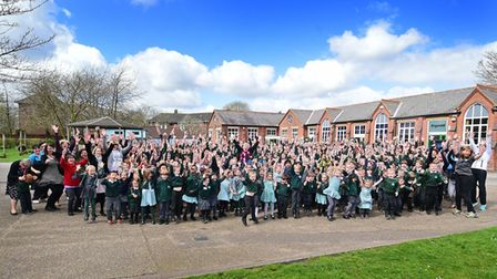 Bignold Primary School staff and pupils celebrating their Ofsted result.Picture: ANTONY KELLY