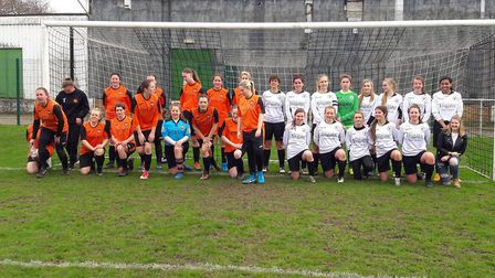 Beccles Town Ladies and FC Sprowston line up for the camera. Picture: NWGFL