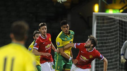 Adel Gafaiti in action against Manchester United U21s in front of almost 10,000 fans at Carrow Road