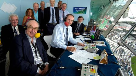 Henry Blofeld in familiar surroundings with the Test Match Special team including Jonathan Agnew. Ph
