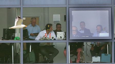 Henry Blofeld with the team in the commentary box. Photo: Nick Potts/PA Wire