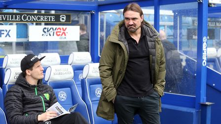 Game time approaches for City head coach Daniel Farke and sub Timm Klose before the game at QPR. Pic