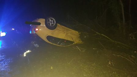 The car involved in the RTC at Honingham near Easton roundabout on the A47. Photo: Sgt Chris Harris