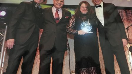 Suzanne Warnes, who won the Dementia Carer Award at the 2018 Great British Care Awards, with (from l