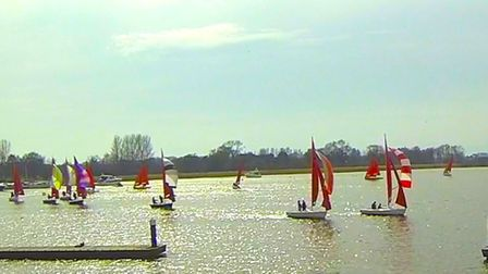 Action from the Broadland Squib regatta at waveney and Oultobn Broad Yacht Club. Picture: Sue Harper