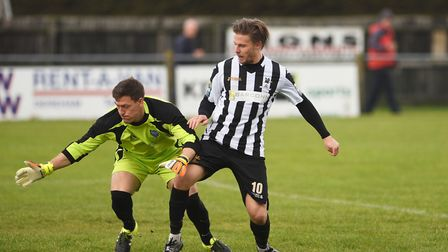 Danny Beaumont was in the goals for Dereham Town against Waltham Abbey. Picture: Ian Burt