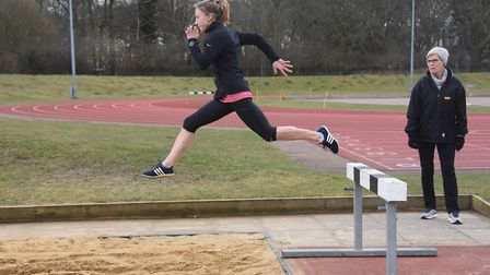 Iona Lake in training for the water jump at the Sportspark long jump, before she takes part in the s
