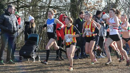 Iona Lake and CONAC team-mate Sarah Astin lead the field at the England Cross Country Championships.