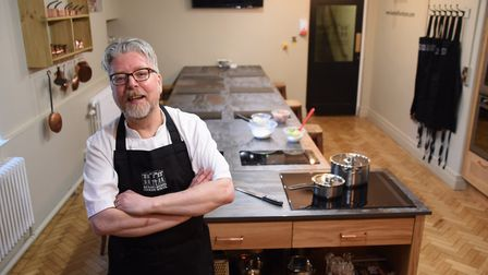 Chef Richard Hughes at his cookery school at the Assembly House. Picture: DENISE BRADLEY