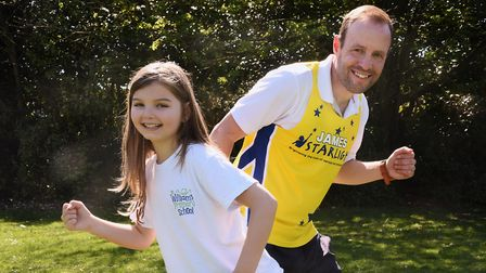 St William's Primary School teacher, James Roberts, who is running in the London Marathon, with pupi