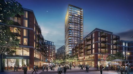 A CGI image showing what Anglia Square could look like at night. Picture: Weston Homes