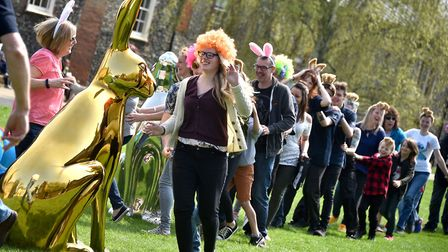 GoGoHares team, and members of the public, filming at Cathedral Close in Norwich for their 'Hoppy' v