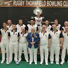 Norfolk celebrate with the Denny Cup runners-up trophy after defeat in the final to Cumbria. Picture
