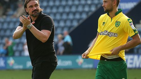 Daniel Farke salutes the travelling support after a 0-0 draw at Preston. Picture: Paul Chesterton/Fo