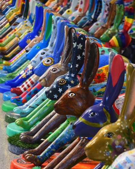 The Leverets, designed by schools and communities as part of the GoGoHares project, all together wai