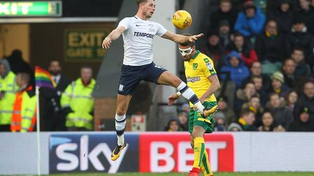 Preston's Alan Browne up against City's Ivo Pinto during the match at Carrow Road in November. Pictu