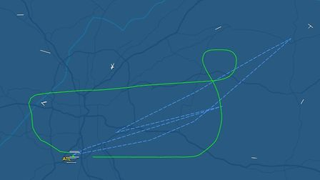 The route of the plane having taken off from Hartsfield Jackson International (Atlanta) and then ret