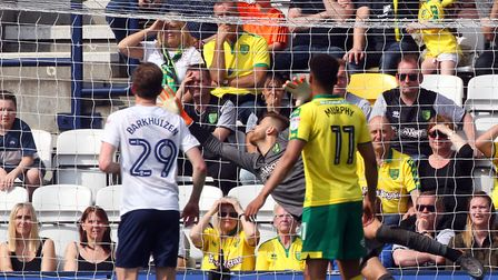 Paul Gallagher's free kick slammed Angus Gunn's bar in the first half at Deepdale. Picture: Paul Che