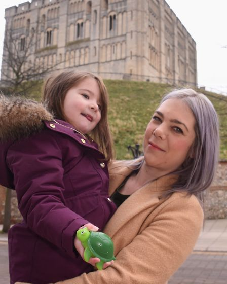 Joanna Corbyn, with her autistic daughter Darcie, four, at Norwich Castle which will be lit up over