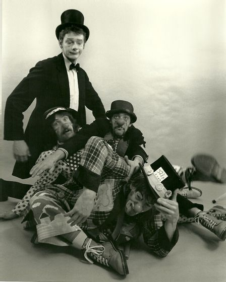 The original Foolhardy Folk Clown Troupe line-up from 1986 - Will Chamberlain, Mike Folk, Cosmo Hard