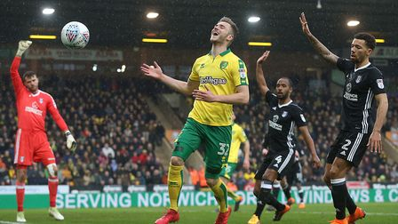 Dennis Srbeny was denied a first Norwich City goal by a flying save from Marcus Bettinelli. Picture: