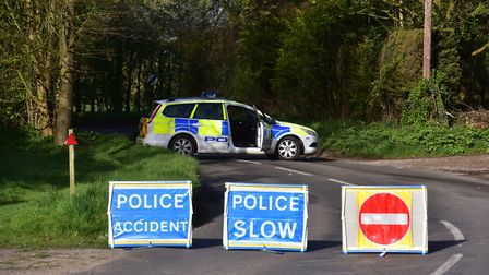 The B1134 Tivetshall road, Pulham Market after the accident. Picture: NICK BUTCHER