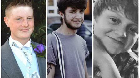 From left, Kyle Warren, Dominic O'Neill and Billy Hines, who died in a road crash in Pulham Market.