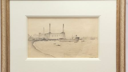 Tanker at Greenwich, by L S Lowry, sold for 14,500
