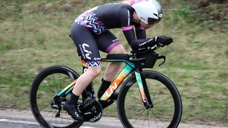 Amy Pritchard on her way to winning the Pat Pepper Trophy in a new course record at the Wolsey RC 25