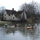Kayak paddlers take the place of Constable's hay cart in the ford by Willy Lott's house. Picture: Do